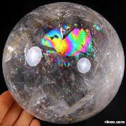"Rainbows, Huge 4.5"" Quartz Rock Crystal Sphere, Crystal Ball"
