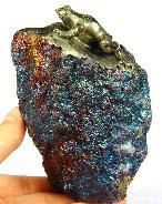 Mineral Specimen Chalcopyrite & Peacock Ore Crystal Carved Crystal Frog Amazing flash