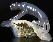 "7.3"" Agate Carved Crystal Leopard"