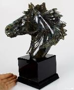 Labradorite Carved Crystal Horse with Black Obsidian Base