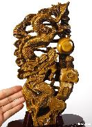AMAZING FLASH Gold Tiger Eye Carved Crystal Dragon