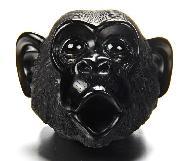 "Cute Huge 4.0"" Black Obsidian Carved Crystal Orangutan Head"