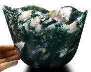 "Amazing Giant 7.0"" Green Moss Agate Carved Crystal Pot"