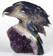 "Stunning Geode HUGE 6.3"" Agate Carved Crystal Eagle Head"
