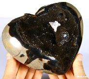 "Unique Geode Huge 5.8"" Dragon Septarian Stone Carved Crystal Heart"