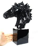 "Giant 8.0"" Black Obsidian Carved Crystal Horse Head with Black Obsidian Stand"