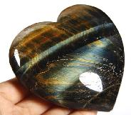 "Amazing Flash Gemstone 3.5"" Blue & Gold Tiger Eye Carved Crystal Heart"