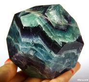 "3.0"" Fluorite Carved Crystal Dodecahedron"