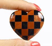 "1.4"" Red Jasper & Black Obsidian Carved Crystal Heart"