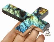 Amazing Flash Labradorite Carved Crystal Cross Pendant