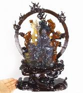 "Stunning Collection Huge 8.5"" Agate Carved Crystal Ksitigarbha Bodhisattva Sculpture with Wood Stand"