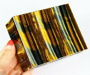 "Gemstone Huge 4.2"" Blue & Gold Tiger Eye Carved Crystal Jewelry Box"