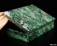 "Gemstone Huge 6.9"" Ruby Zoisite Carved Crystal Jewelry Box"