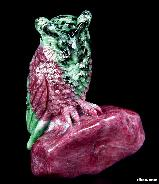 "Awesome Gemstone 3.1"" Ruby Carved Crystal Owl Sculpture"