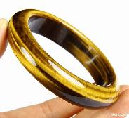 Amazing Flash Gemstone Gold Tiger Eye Carved Crystal Bangle