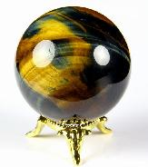 "2.0"" Blue & Gold Tiger Eye Sphere Crystal Ball"