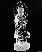 "Amazing Clear Huge 9.9"" Quartz Rock Crystal Carved Crystal Kwan-yin Sculpture"
