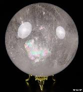 "Rainbow 3.5"" Quartz Rock Crystal Sphere, Crystal Ball"