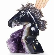 "Awesome Giant 9.9"" Amethyst Druse Agate Carved Crystal Horse Head Sculpture"