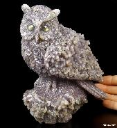 "Nice Huge 6.1"" Purple Grape Agate Carved Crystal Owl Sculpture with Labradorite Eyes"