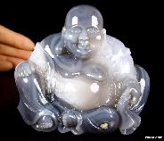 "Huge 4.7"" Gray & White Agate Carved Crystal Skull Sculpture Buddha"