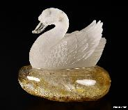 "3.0"" Quartz Rock Crystal Carved Crystal Skull Sculpture Swan"