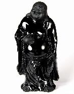 "Huge 5.1"" Black Obsidian Carved Crystal Sculpture Buddha"