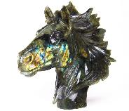 "Amazing Flash Huge 8.5"" Labradorite Carved Crystal Horse Head"