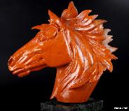 "7.4"" Red Jasper Carved Crystal Horse Head Sculpture"