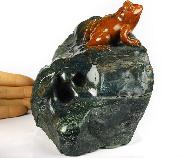 "Huge 5.4"" Indian Agate Crystal Frog Sculpture, Realistic, Crystal Healing"