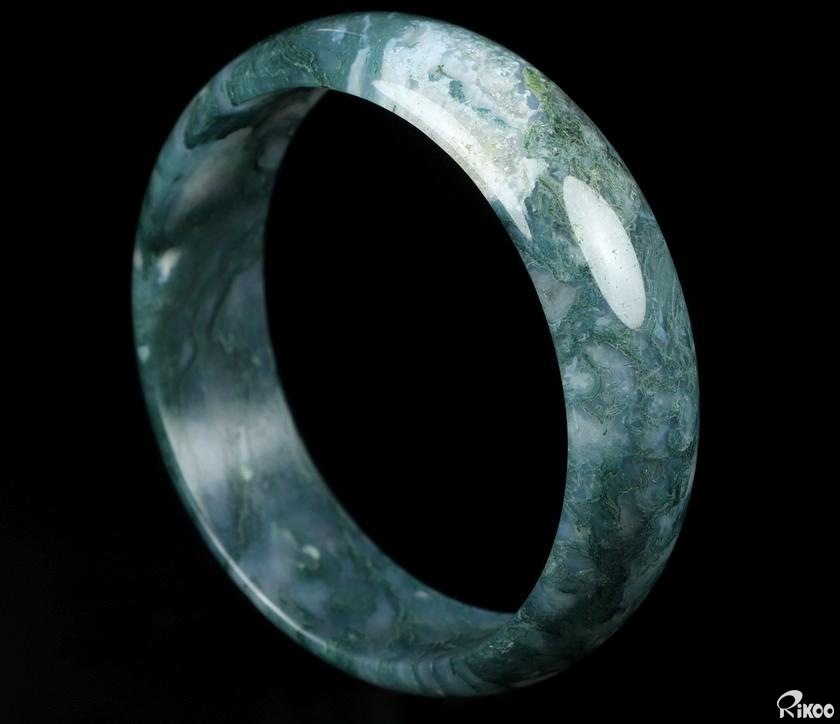 Green Moss Agate Crystal Bangle