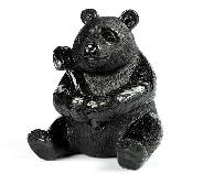 "3.0"" Black Obsidian Carved Crystal Panda, Realistic"