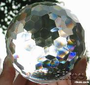 "Huge 4.1"" Faceted Glass Sphere, Crystal Ball  border="
