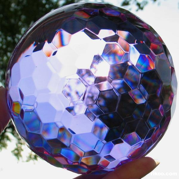 Purple Faceted Glass Crystal Ball