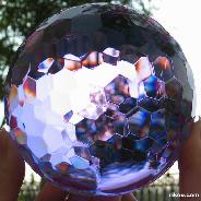 "Huge 4.0"" Purple Faceted Glass Sphere, Crystal Ball"