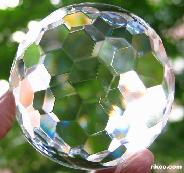 "3.1"" Faceted Glass Sphere, Crystal Ball  border="