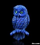 Lapis Lazuli Carved Owl Brooch, Gemstone, Tsavorite Eyes  border=