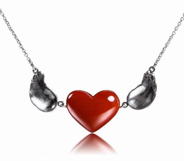 Red Jasper Crystal Heart Necklace