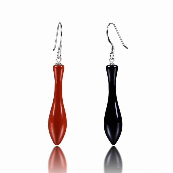 Black Onyx & Red Jasper Crystal Vase Earrings