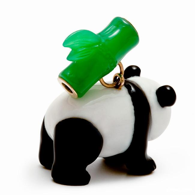 Black Obsidian & White Jade Crystal Panda with Bamboo Pendant