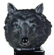 "Huge 5.7"" Black Obsidian Carved Crystal Wolf Skull & Emerald Eyes Sculpture  border="