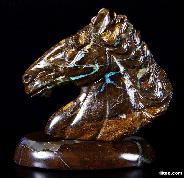 Matrix Opal Carved Crystal Horse Head & Stand