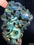 "STUNNING 14.3"" Labradorite Carved Dragon Sculpture AMAZINGFLASH"