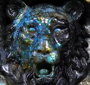 Labradorite Carved Crystal Lion Head Amazing flash