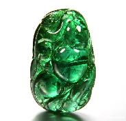 AMAZING Verdelite/Green Tourmaline Carved Crystal Monkey & Cucurbit Pendant