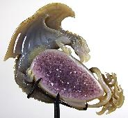 "AMAZING UNIQUE HUGE Amethyst GEODE 5.9"" Agate Carved Crystal The First Western Dragon"
