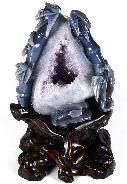 "AMAZING GEODE GIANT 8.5"" Amethyst Geode Agate Carved Crystal Bamboos"