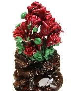 "Stunning Gemstone Huge 6.9"" Ruby Carved Crystal Roses"