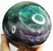 "Huge 4.5"" Fluorite Sphere, Crystal Ball"