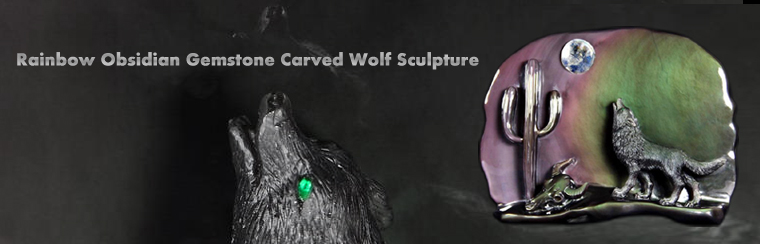 Rainbow Obsidian Carved Howling Wolf